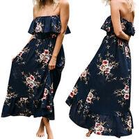 Women's Summer Vintage Boho Long Maxi Party Evening Beach Dress Floral Sundress
