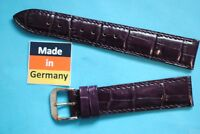 Watch Band 18mm Violet Calf Leather Crocodile Embossed by Kaufmann Made in