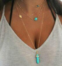 Blue Bead Water Drop Geometric Clavicle 4Pcs/Set Women Necklaces Retro Hand Eye