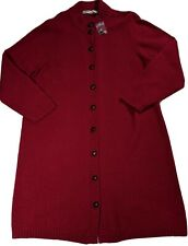 Orvis Womens XL Red LS Shetland Wool 10 Button Cardigan Sweater Coat Long Duster