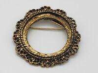Vintage Round Blank Frame Brooch Pin Antique Gold Tone Flower Ornate Design