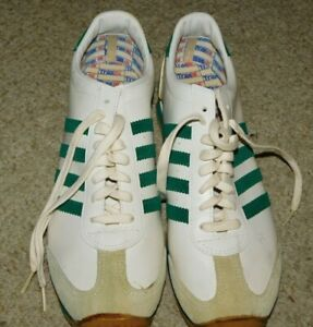 VINTAGE 1970S NEW OLD STOCK  TRAX MENS TRACK RUNNING GYM SHOE GREEN STRIPE 12