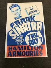 "Frank Sinatra 1949 Canada Hamilton Armouries Cardstock Concert Poster 12"" x 18"""