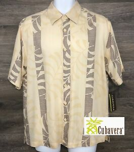 NWT Cubavera Mens 50's Style Yellow Leaf Print Short Sleeve Button Front Shirt M