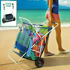 Folding Utility Beach Cart Collapsible Folding Outdoor Utility Wagon Wide Wheels