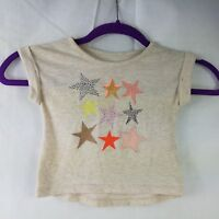 Cat & Jack Girls T-Shirt Beige Crew Neck Roll Tab Short Sleeve Star Tee Baby 12M