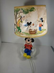 Vintage Walt Disney Mickey Mouse Table Desk Lamp W/ Shade Dolly Toy Co.