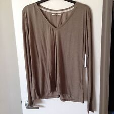 NWT J BRAND Darby Long Sleeve V Neck Tee Sz S Taupe Jersey Linen Loose Fit Top