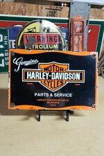 HARLEY DAVIDSON MOTORCYCLES porcelain sign parts vintage DEALER motor oil