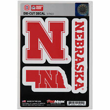 Nebraska Huskers Set of 3 Die Cut Decal Stickers State Outline Free Shipping!