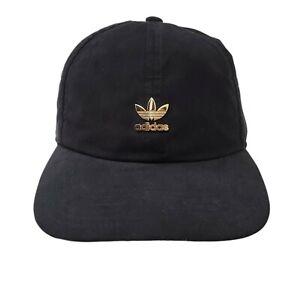 Adidas Originals Womens Relaxed Metal Strapback Hat NWT Cap Black Gold Trefoil