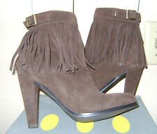 Colin Stuart Boho Hippie Brown Suede Fringe Buckle Ankle Boots pre-owned 6.5