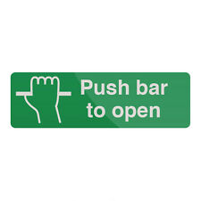 Push Bar To Open Sign 300 x 100mm Self-Adhesive Signage Safety Signs