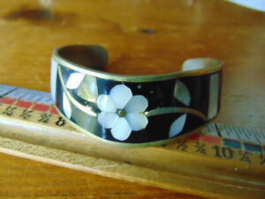 Vintage Mexican Silver bangle bracelet- black enamel w/mother-of-pearl inlays
