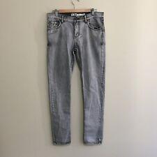 Lost Highway Skinny Denim Straight Jeans Acid Wash Grey Mens 33