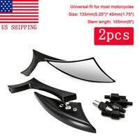 Motorcycle Black Blade Rearview Side Mirrors For Harley Cruiser Chopper Bobber