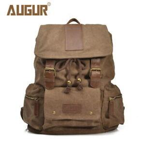 Rucksack Men Women Canvas Leather Laptop Backpack Vintage Travel camping Bookbag