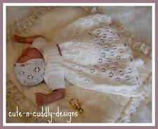 Baby /Reborn doll designer knitting pattern / LongDress/Bootees/Bonnet