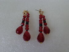 US AVON Vintage Plastic Red Black Beads Dangling Earrings Jewelry Collection