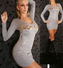 Sexy Miss Long Jumper V Knitted Jumper Mini Dress Gold Sequin 34/36/38 Grey