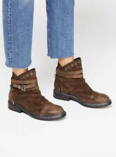 NEW Free People Zac Moto Boots Brown Leather Size 39