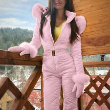 Ladies winter warm snow clothes outdoor leisure sports hooded ski suit jumpsuit