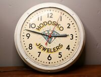 Vintage Jewelry Shop Clock Hodosko Jewelers Diamond Telechron Advertising bubble