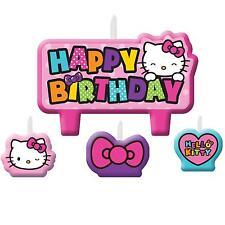 4 Piece Hello Kitty Rainbow Happy Birthday Cake Party Candle Set