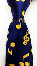 Music Notations Blue Yellow Woven Neck Tie Men's SKINNY Narrow Tie