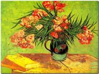 "Vincent Van Gogh *FRAMED* CANVAS ART Still Life with Oleanders 16""X 12"""
