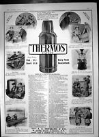 Old Antique Print Thermos Flask Vacuum Keeps Fluids Hot Day & Night 1907 20th