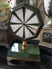 Maitland Smith Emerald Green Dyed Penshell & White Shell Inlaid Clock Brass Base