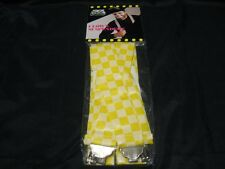 Old 80's 1988 Stage Door Yellow/White Checked Plastic Costume Clown Suspenders