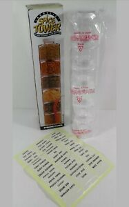 NEW PRODYNE 6 SELF-STACKING SPICE BOTTLES ACRYLIC SPICE TOWER (1995)