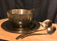 BRONZE BOWL,TRAY and 2 LADLES, HAND HAMMERED, THAILAND