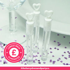 96 White Deluxe 10cm Tube Wand Wedding Heart Bubbles Blow Confetti Favours