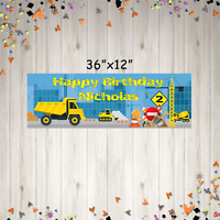 """36"""" x 12"""" Personalized Dump Truck Birthday Party Banner ANY NAME, ANY AGE"""