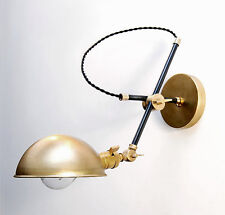 Industrial Black & Brass Articulating Beside Wall Lamp - Extension Boom Light