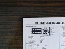 1968 Oldsmobile 442 Series 360 HP 400 CI V8 4BBL SUN Tune Up Chart Great Shape!