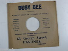 "78 rpm 10"" inch card gramophone record sleeve , BUSY BEE , HASTINGS"