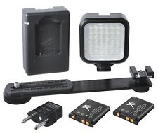 Light LED Kit With 2 Battery & Charger for Panasonic Lumix DMC-FZ150K DMC-LX7