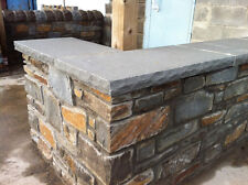 Welsh blue pennant sawn flat coping stones, flamed top, dressed sides