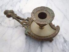 Bougeoir à main bronze ciselé onyx Napoléon III d'époque 19ème