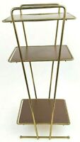 """Mid Century Modern Metal Gold Wire 25"""" 3 Tier Shelf Stand Table Plants Atomic"""