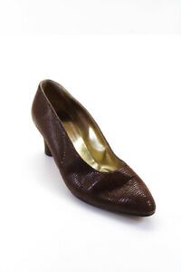 Walter Steiger Womens Leather Pointed Toe Slip On Pumps Brown Size 10