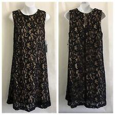 Scarlett Women's Dress Size 12 Sleeveless Sequine Sheath Black Lace Over Beige