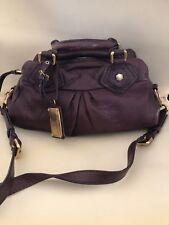 Marc Jacobs Classic Q baby groove Purple Leather  Handbag shoulder satchel purse