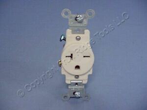 Leviton Lt Almond COMMERCIAL Single Outlet Receptacle 6-20R 20A 250V Bulk 5821-T