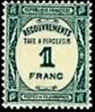 "FRANCE STAMP TIMBRE YVERT TAXE N° 60 "" RECOUVREMENT 1F BLEU-VERT "" NEUF xx TTB"