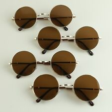 BRAND NEW Gold Frame Brown Lens Round Small Hippie Lennon Fashion Sunglasses